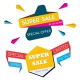 Dwa sprzedaż sztandarów Super projekt Fotografia Stock
