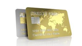 Dwa srebny i złociste kredytowe karty ilustracji