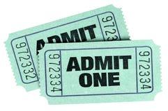 Dwa stara zieleń przyznaje jeden bilety odizolowywali białego tło fotografia royalty free