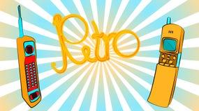 dwa starego żółtego złota guzika modnisia rocznika retro retro kwadrata pierwszy telefonu komórkowego z długą anteną, suwaki i re ilustracji