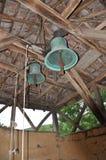 Dwa starego mosiężnego dzwonu w befry Zdjęcia Stock