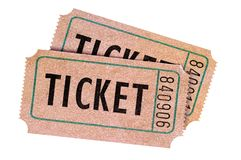 Dwa starego zatartego rocznika wejściowego bileta odizolowywali biel zdjęcie royalty free