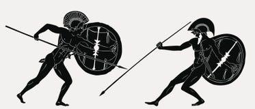 Dwa starożytnych grków wojownik royalty ilustracja