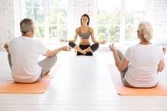 Dwa starsi ludzi uczy się dlaczego medytować Obraz Royalty Free