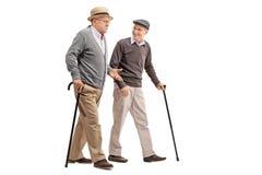 Dwa starszego dżentelmenu opowiada each inny Fotografia Royalty Free