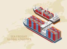 Dwa statku globalny logistyka system royalty ilustracja