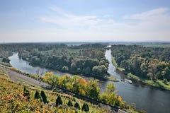 Dwa statku na zbieżności Labe i Vltava rzekach gdy przeglądać od punktu obserwacyjnego w Melnik mieście w jesiennym czeskim krajo Obrazy Royalty Free