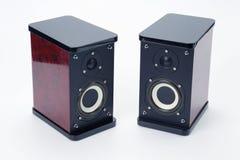 Dwa stereo audio mówcy na białym tle Obraz Royalty Free