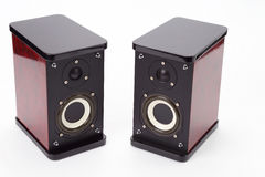 Dwa stereo audio mówcy na białym tle Obrazy Stock