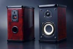 Dwa stereo audio mówcy na ciemnym tle Zdjęcia Stock