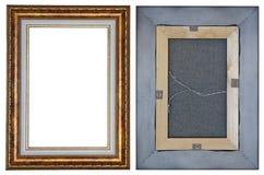 Dwa strony nowożytna drewniana rama dla małego obrazka w retro fotografia stock