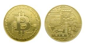 Dwa strony złociste monety Bitcoin Fotografia Stock