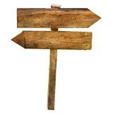 Dwa strzała rozdroża Blabk Drewnianego znaka Odizolowywającego Fotografia Royalty Free