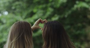 Dwa sweeties dziewczyny robi serce formy ładnym rękom Zwolnione tempa zdjęcie wideo