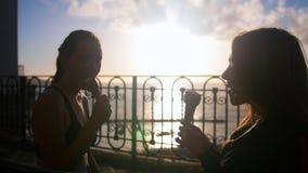 Dwa sylwetki młode kobiety siedzi na quay i je lody na zmierzchu zbiory wideo