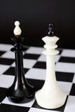 Dwa szachowego królewiątka jeden przed inny Walka równi konkurenci Zdjęcie Stock