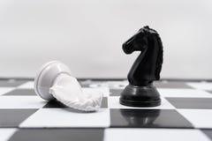 Dwa szachowych rycerza z przezwyciężonym białym szachowego kawałka lying on the beach na swój stronie i czarnym rycerzu stoi pion zdjęcie stock