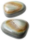 Dwa szarego agata gemstones odizolowywającego na bielu Zdjęcie Stock