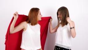 Dwa szczęśliwego żeńskiego przyjaciela bawić się one i zakrywa jaźń z czerwoną koc zbiory