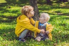 Dwa szczęśliwego brata w żółtych bluzach sportowa w jesień parku Zdjęcia Stock