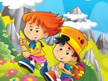 Dwa szczęśliwego dzieciaka w górach ilustracji