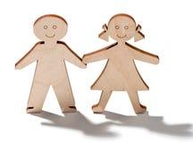 Dwa szczęśliwego one uśmiechają się drewnianego dziecka Obrazy Stock