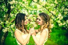 Dwa szczęśliwej ładnej dziewczyny zostaje pod okwitnięcie jabłonią Zdjęcia Royalty Free