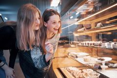 Dwa szczęśliwej atrakcyjnej dziewczyny wybiera ganaches, praline i czekolady wyśmienicie, Obrazy Stock