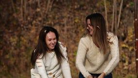 Dwa szczęśliwej dziewczyny z liśćmi w parku Żółty ulistnienie zbiory wideo
