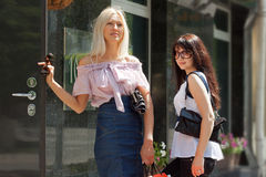 Dwa szczęśliwej kobiety z torba na zakupy obraz royalty free