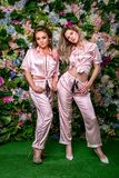 Dwa szczęśliwej pięknej blondynki w seksownych pasiastych piżamach i piętach na kwiatu tle Stoją blisko siebie i patrzejący plcio fotografia royalty free