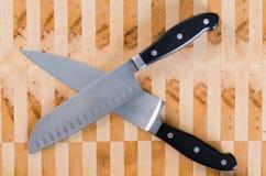 Dwa szefa kuchni noża Zdjęcia Royalty Free