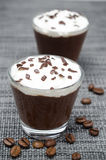 Dwa szkła czekoladowy i kawowy mousse z batożącą śmietanką Fotografia Stock