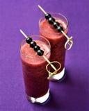 Dwa szkła blackcurrant smoothies Obrazy Royalty Free