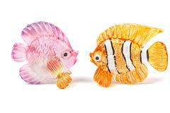 Dwa szkło rybiej figurki Zdjęcia Royalty Free