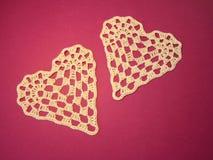 Dwa szydełkowego serca Fotografia Royalty Free