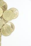 Dwa tajlandzkiego bahta moneta na lewicie Fotografia Royalty Free