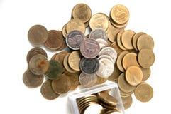 Dwa Tajlandzkiego bahta moneta odizolowywająca Zdjęcie Royalty Free