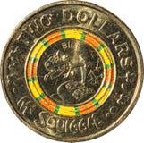 Dwa 60th dolar miedzianej monety Australijskiej rocznica Mr Squiggle i Bill, odosobniona na białym tle fotografia stock