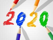 Dwa Thosand Dwadzieścia Reprezentują nowego roku I dzieci ilustracji