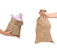 Dwa torby w rękach. zdjęcie royalty free