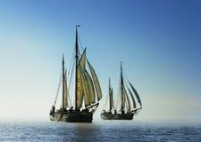 Dwa tradycyjnej żeglowanie łodzi Fotografia Stock