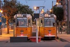 Dwa tramwaju w Budapest Fotografia Royalty Free