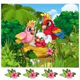 Dwa tropikalnej papugi i ich gniazdownik w naturze ilustracji