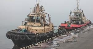 Dwa tugboats są przy molem w porcie morskim fotografia royalty free