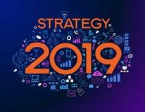 Dwa tysiące i dziewiętnaście nowych biznesowego sukcesu strategii ilustracja wektor