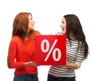 Dwa uśmiechnięta nastoletnia dziewczyna z procentu znakiem na pudełku Obraz Royalty Free