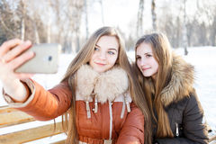 Dwa uśmiechniętej dziewczyny robią selfie w zima parku Zdjęcia Stock