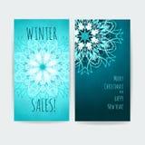 Dwa wektorów grafika dla sztandar zimy sprzedaży Zdjęcia Stock