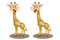 Dwa wektorów kreskówki żyrafa na białym tle z śmiać się zdjęcia stock